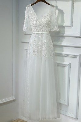 Elegant Long White Lace...