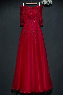 Burgundy Long Lace Formal...