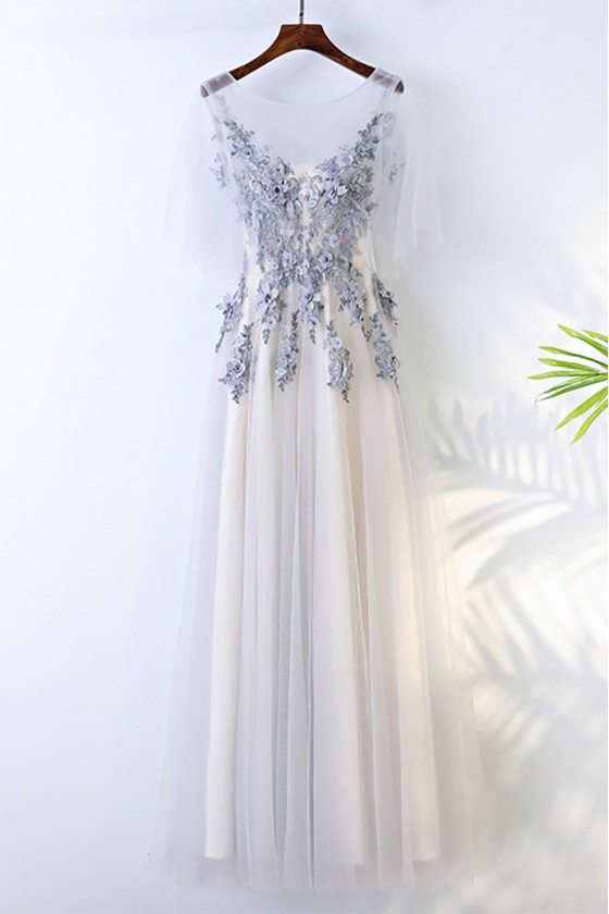 Gorgeous Grey Long Tulle Lace Prom Party Dress For Curvy Girls