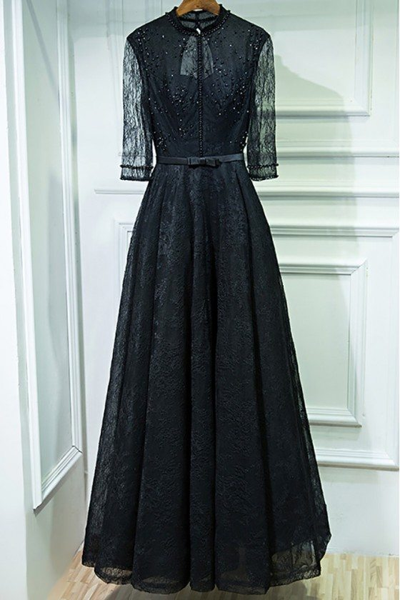 Vintage Chic Long Black High Neck Prom Dress With 3/4 Sleeves