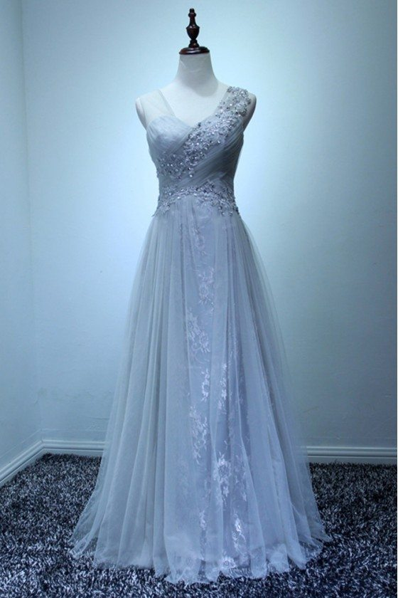 Special Grey Lace Evening Dress Long With Beading For Women