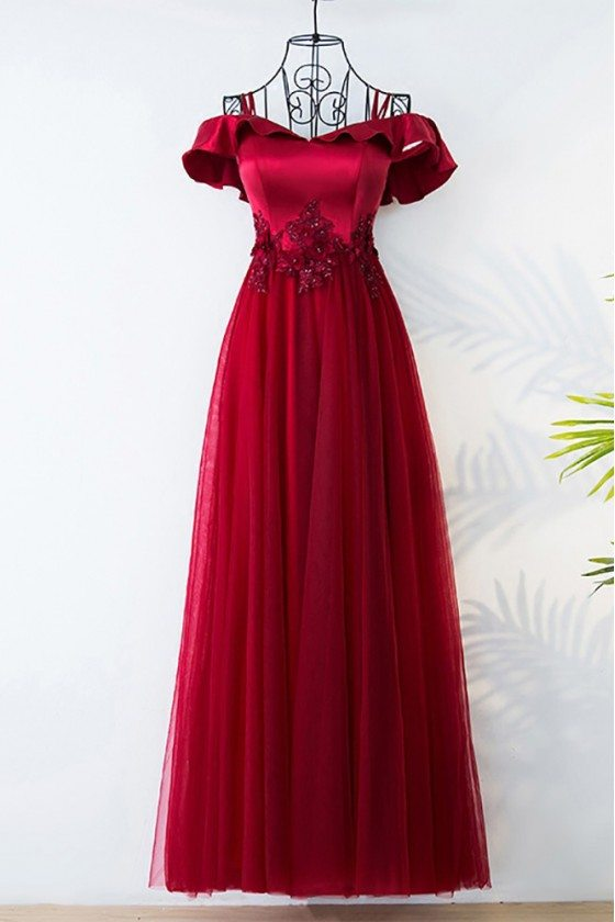 Unique Silver Off The Shoulder Long Prom Party Dress With Straps