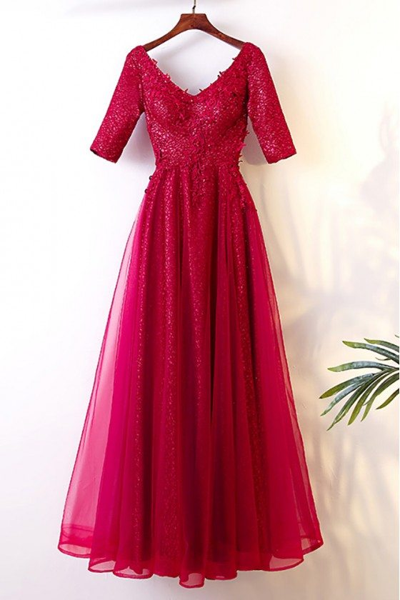 Burgundy Long Tulle Party Dress With Sleeves For Weddings