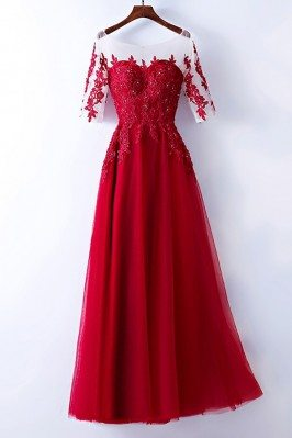 Burgundy Beaded Lace Long...
