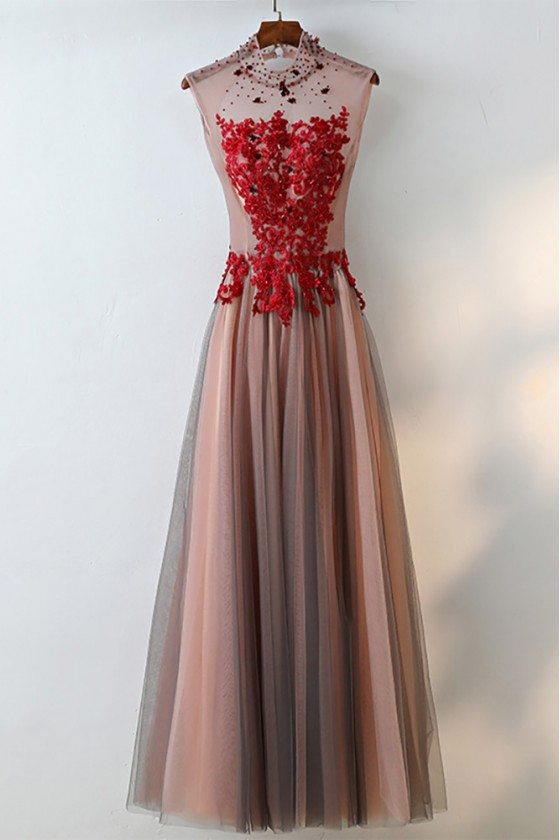 Unique High Neck Black Tulle And Red Lace Prom Dress Sleeveless