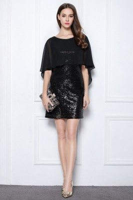 Little Black Sequins Short Cocktail Party Dress
