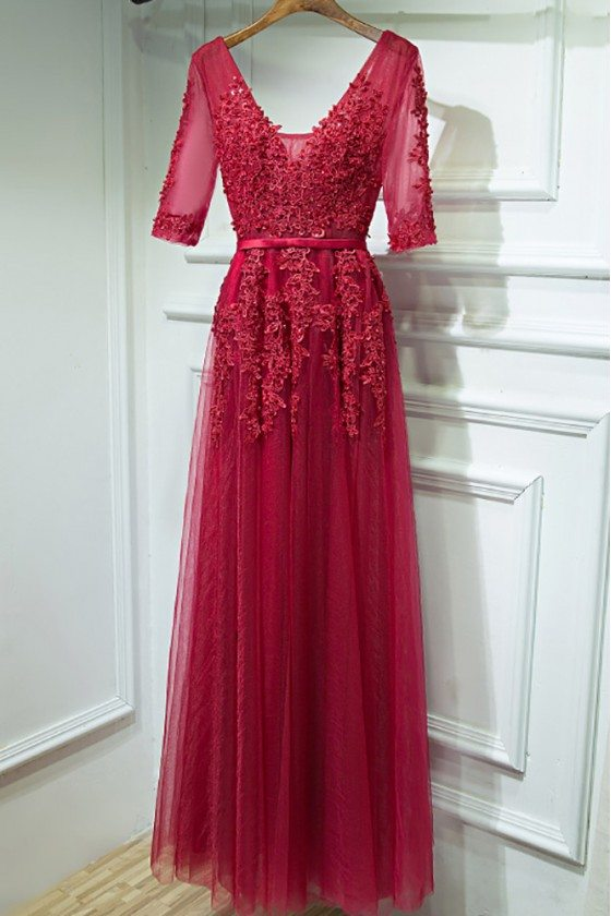 Burgundy V-neck Lace Long Party Dress With Half Sleeves