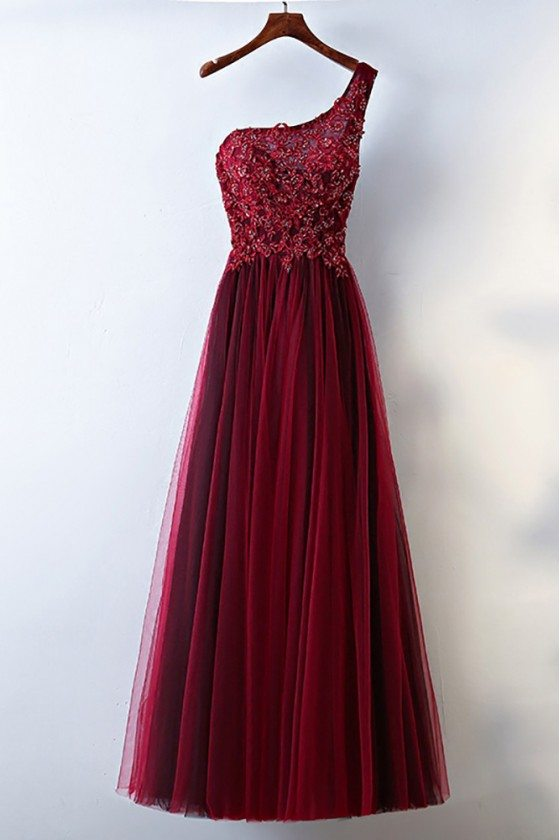 Burgundy One Shoulder Long Tulle Prom Party Dress For Women