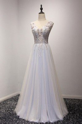 Elegant Bluish-grey Beaded...