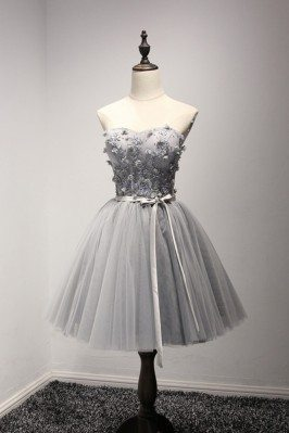 Strapless Short Grey Tulle...