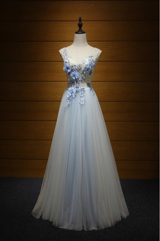 2018 Elegant Tulle Evening Dress Long With Beaing Flowers