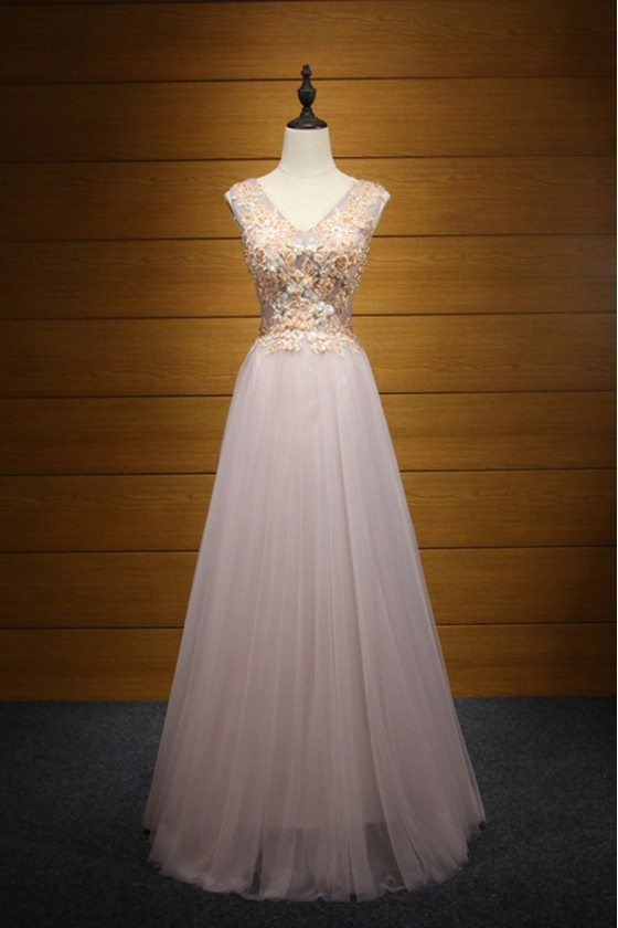 Different Pink Tulle Prom Dress Long With Applique For Women