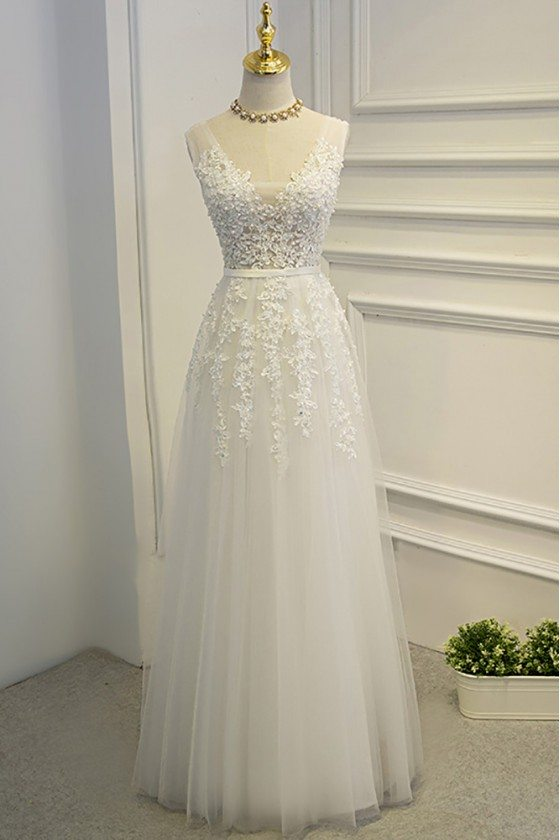 Pretty White Lace A Line Prom Party Dress With Open Back