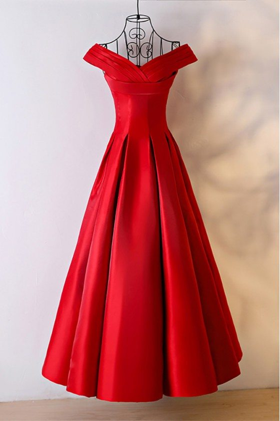 Simple Red Satin Ballgown Formal Dress With Off Shoulder