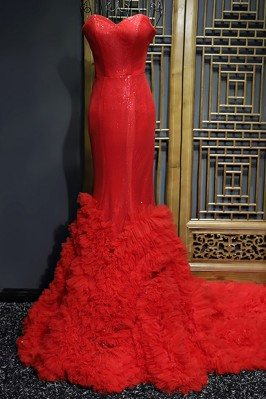 Fitted Red Mermaid Long...