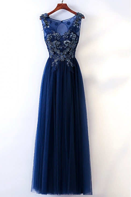 Long Navy Blue Tulle Prom Dress With Embroidery Sleeveless