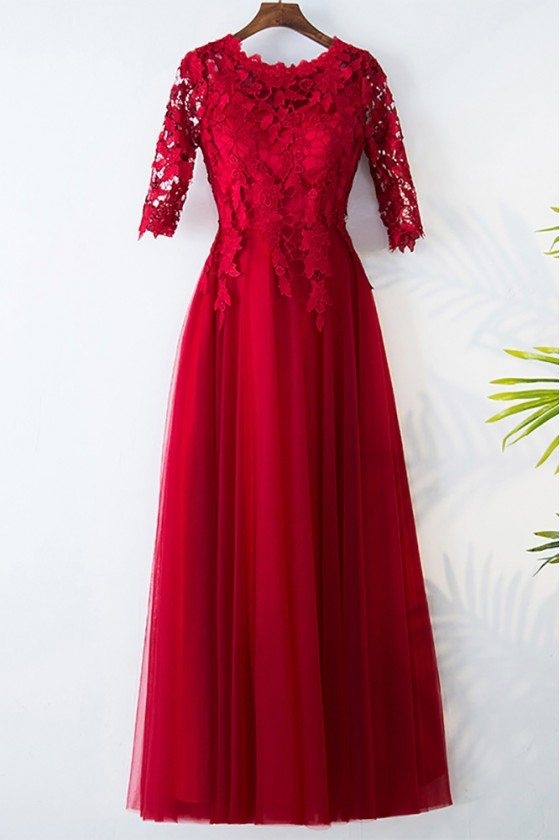 Elegant Lace Round Neck Burgundy Formal Party Dress With Sleeves