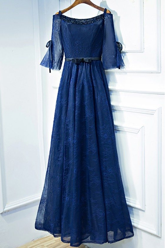 Beautiful Navy Blue Lace Long Formal Prom Dress With Sleeves