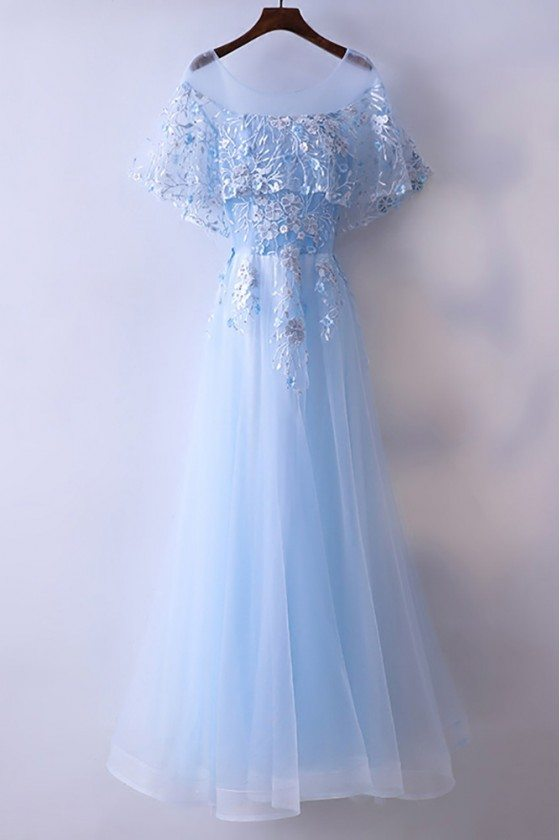 Beautiful Cap Sleeve Blue Prom Dress Long With Tulle