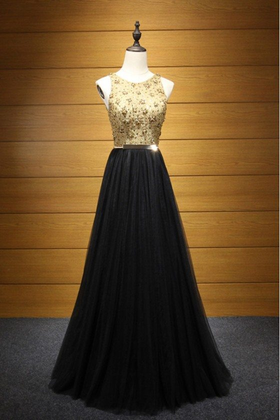 Backless Long Black Prom Dress With Gold Lace Beading Top