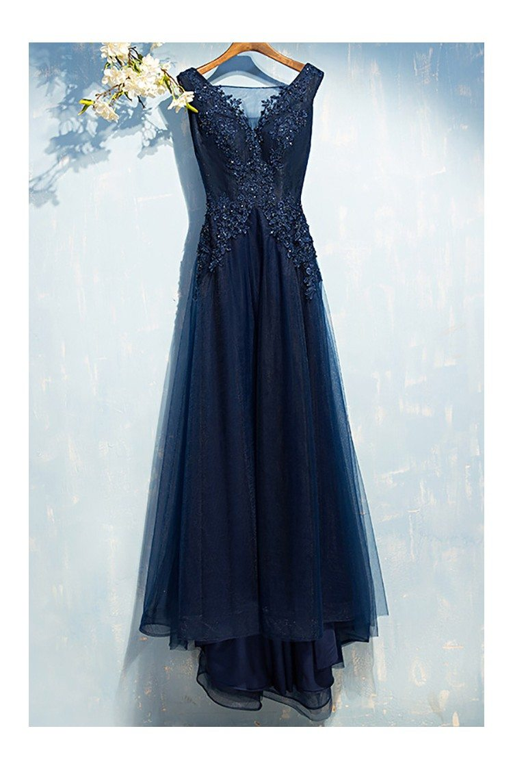 Gorgeous Navy Blue Long Prom Dress Cheap With Sequin Lace