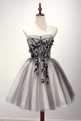 Strapless Short Tulle Grey...