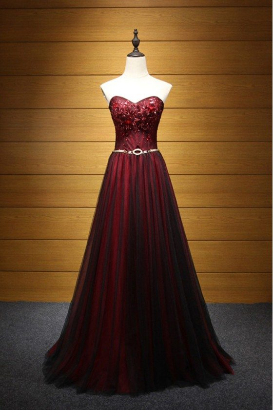 Black And Burgundy Long Formal Dress Tulle With Beaidng For Women