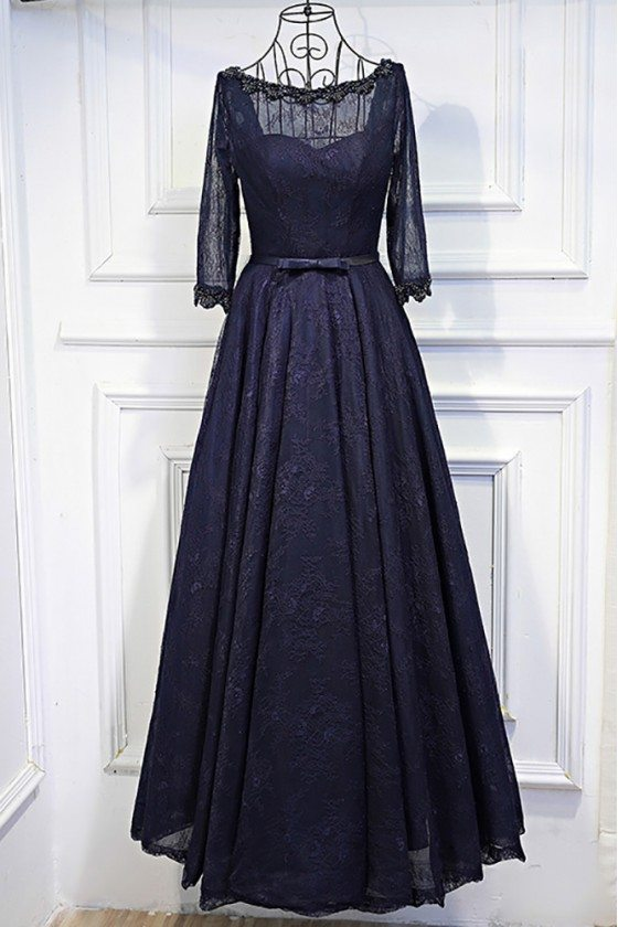 Vintage 3/4 Sleeve Navy Blue Long Prom Dress Lace With Corset Back
