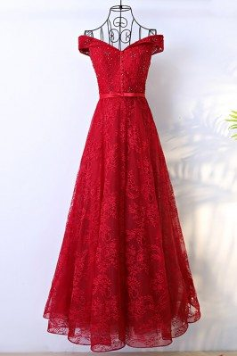 Red Long Lace Formal Party...