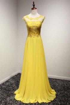 Flowy Long Chiffon Prom Dress In Yellow With Lace Beading