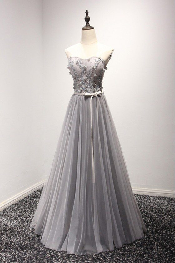 Elegant Grey Long Prom Dress 2018 Tulle With Beading Lace