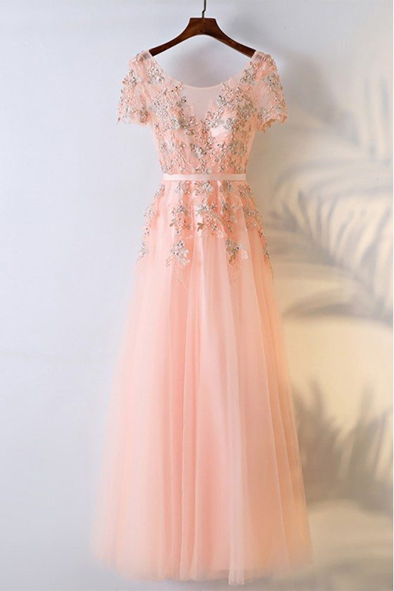 Peachy Pink Round Neck Long Prom Dress With Short Sleeves