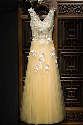 Flowy Long Champagne Tulle...
