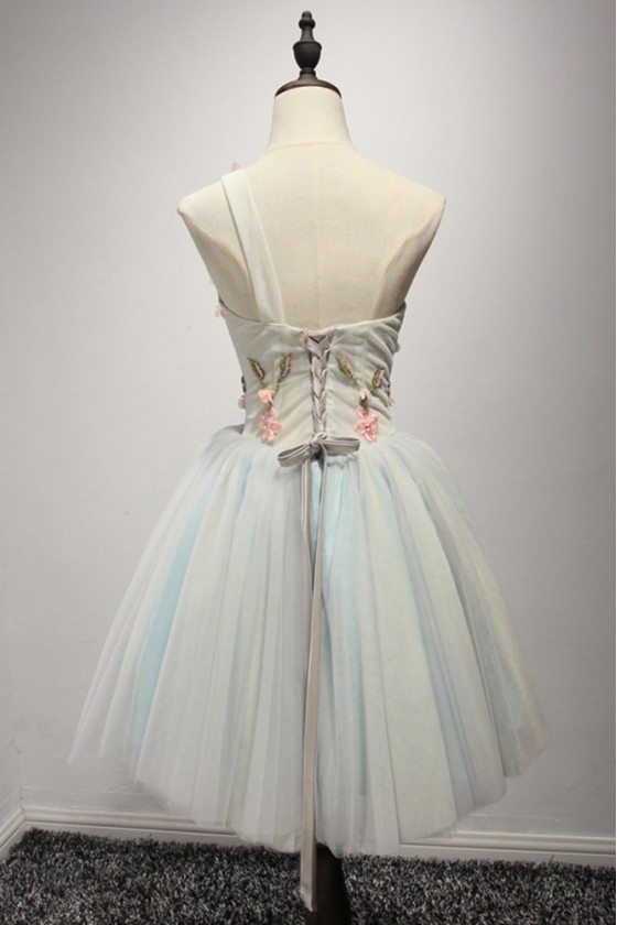 White Tulle One Shoulder Short Prom Cute Dress Homecoming