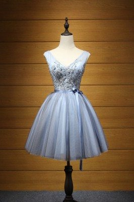 Blue-grey Embroideried...