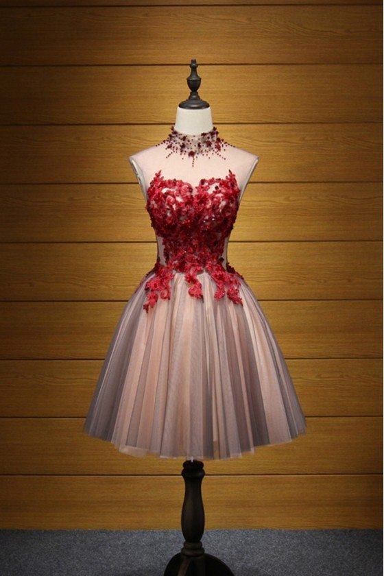Modest Short Floral Homecoming Prom Dress With Red Lace Beading