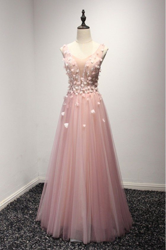 Princess Pink Tulle Formal Dress With Floral Bodice For Women