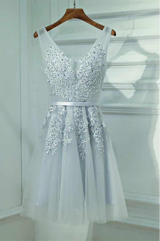 Silver V-neck Short Lace Reception Party Dress V-neck