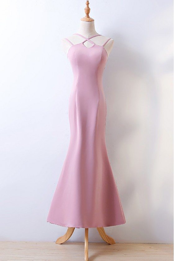 Simple Pink Tight Fitted Long Mermaid Prom Party Dress