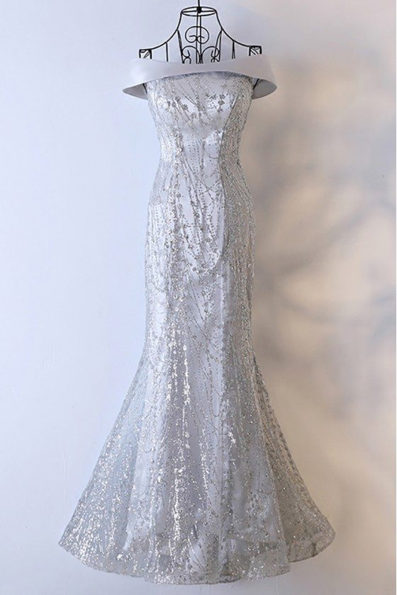 Sparkly Silver Long Mermaid Prom Dress Off The Shoulder