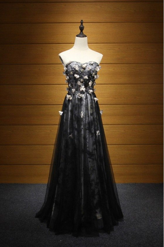Black And White Floral Printed Prom Dress Strapless For Teens