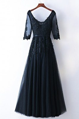 Modest Long Lace Black Prom...