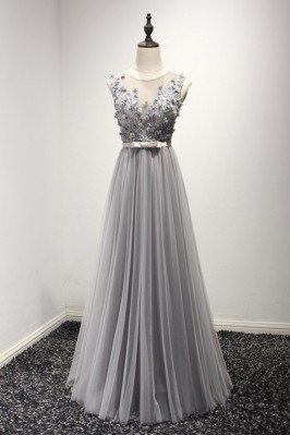 Unique Long Grey Tulle...