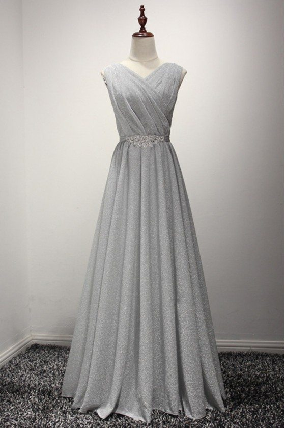 Sparkly Long Grey Evening Formal Dress Shining For Girls 2018