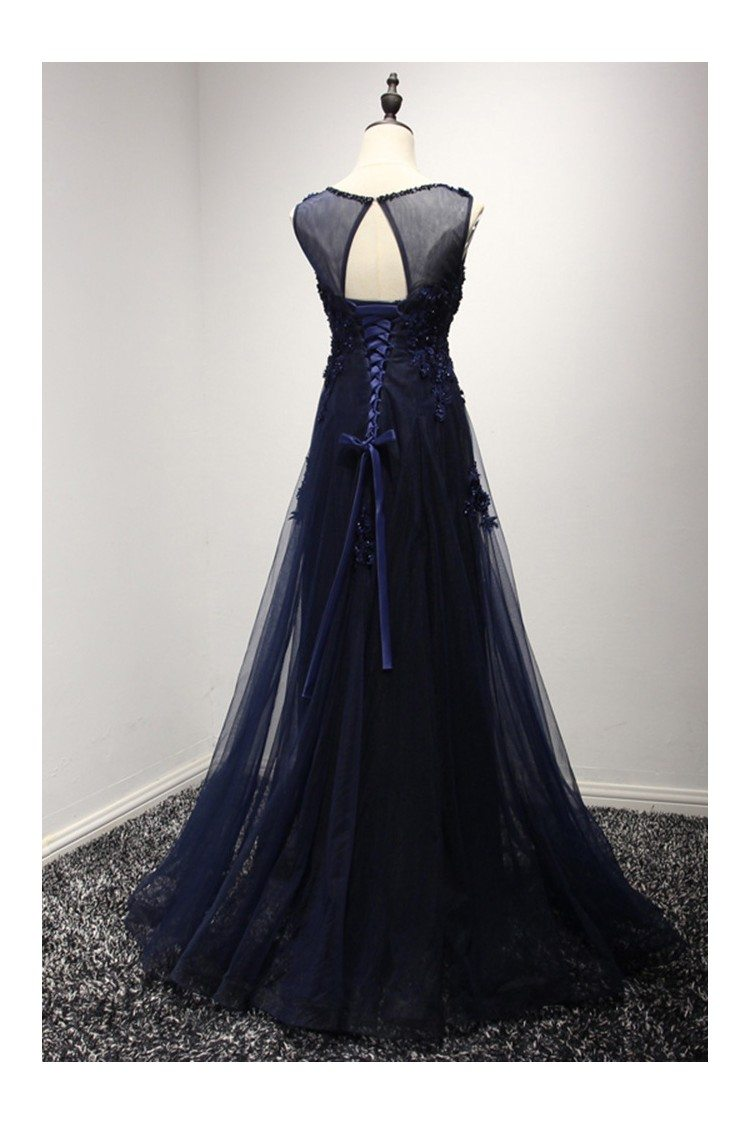Vintage Dark Navy Blue Prom Dress Long With Lace Beading