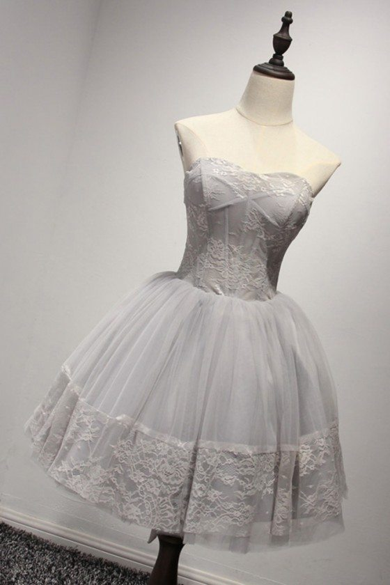 Simple Strapless Short Grey Homecoming Dress With Lace Bodice Hem