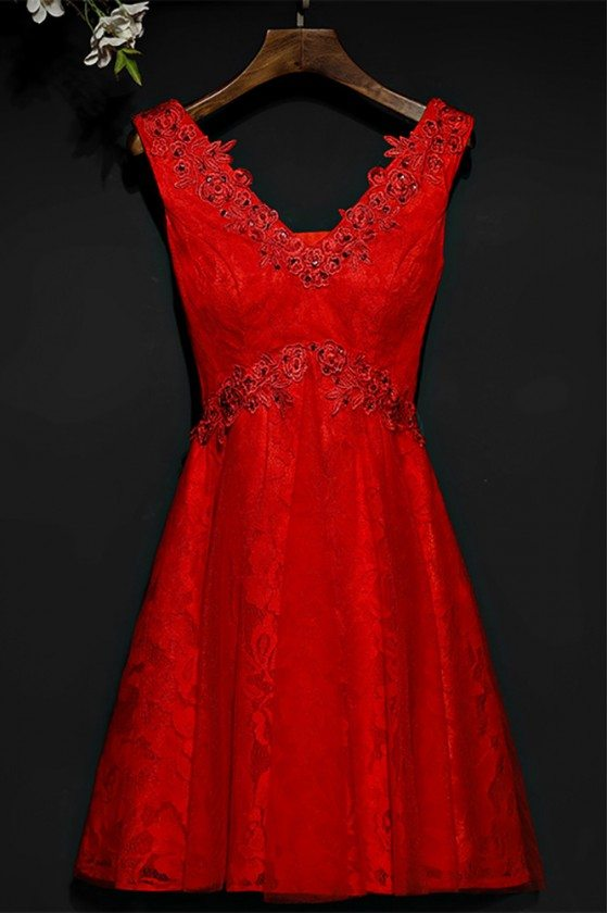 Short Red Beaded Lace High Waist Bridal Party Dress V-neck