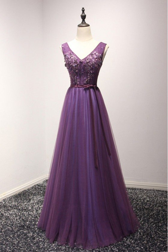 Gorgeous Purple Long Tulle Evening Dress With Beading For Women 2018