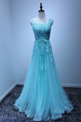 Gorgeous Blue Lace Prom...