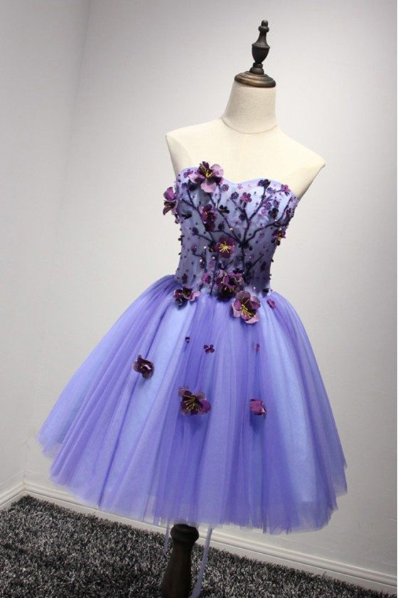 Lavender Short Floral Prom Dress For 2018 Graduation Girls